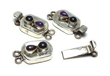 AMETHYST/ONYX 925 Sterling Silver 2-strand 29mm Rectangle Box Clasp /AB30
