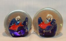 Lot of 2 Vintage Solid Art Glass Gold Fish Aquarium Style Paperweight Display