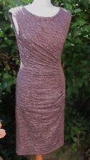 GORGEOUS PHASE EIGHT MOCHA ROUCHED & LINED WIGGLE DRESS WITH STRETCH SIZE 12