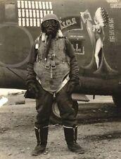 WWII B&W Photo US B-24 Liberator Bomber Crewman Gear World War Two  WW2 / 5055