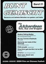 Akkordeon Noten : Bunt gemischt 21 leichte Mittelstufe - mittel m. 2. St. ad lib