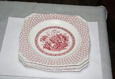 Vintage Empire Porcelain Co. England 4 Rare Red Beverly Square Salad Plates