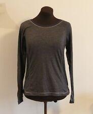 LULULEMON Long Sleeve TURN it UP Athletic Heathered Black Stripe Shirt 6 8