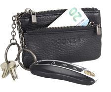 Leder Schlüsseltasche schwarz mit 2 Schlüsselringen - italienisches Rindleder !!