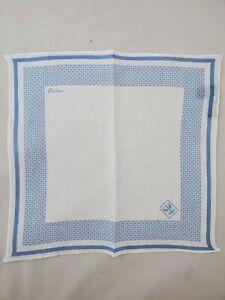 Corneliani Men's 100% Linen White & Blue Pocket Square Handkerchief Gift for Him