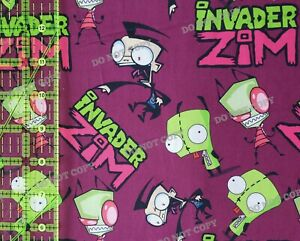 Custom Cotton Woven Fabric Invader Zim Gir Cartoon TV Show Maroon 1/4 Yard