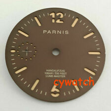 Parnis part watch 35.4mm dark brown watch case Fit ETA 6497 movement