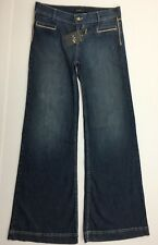 ABS Allen Schwartz Womens Jeans Size 32 Pre-owned With Tags Leather Piping Flare
