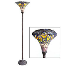 Floor Lamp Torchere Stained Cut Glass Tiffany Style Handcrafted 15'' x 69''Tall