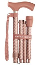 Folding Engraved Rose Gold Switch Sticks Walking Cane In Presentation Box