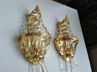 Coppia Applique stile impero in ottone e gocce di cristallo 1940 - 1950