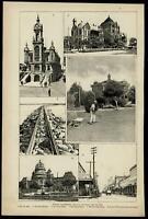 Galveston Texas city scenes views 1895 Harper's Weekly print