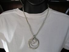 NEW CHICOS Silver Tone Chain Necklace with 3 Circle Rings with Rhinestones