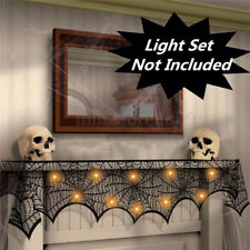 Halloween Party Mantel Door Window Decor Black Spider Cobweb Wed Lace Runner CWB
