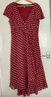 Laura Ashley Red Polka Dot Wrap Knot Front Floaty Ruffle Formal Tea Dress UK 18
