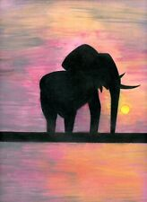 ELEPHANT Wild Animal Figure Original Pencil Watercolor Contemporary Art Drawing