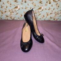 Size 8.5   Audrey Brooke Ballet Flats NEWTON Black Leather W/Bow Slip On Shoes