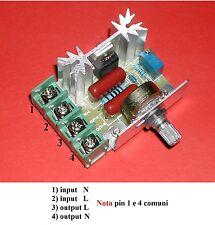 Regolatore 2000 W, velocità motori o tensione - in 110~220Vac ,out 50Vac ~Vin ac