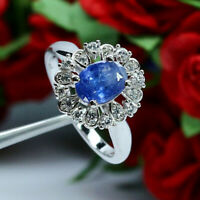 NATURAL 6 X 8 mm OVAL BLUE TANZANITE & WHITE CZ RING 925 STERLING SILVER SZ 6.75