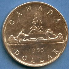 "1953 ""No Shoulder Fold"" Canada Silver Dollar Coin ( 23.33 Grams .800 Silver )"