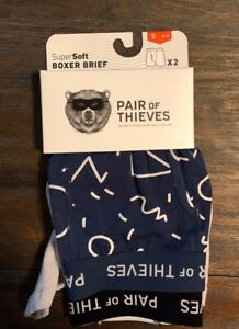 2 Pack Mens Pair of Thieves SuperSoft Boxer Brief Underwear Blue & Grey Size S