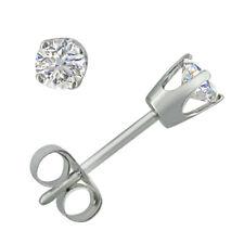 Ags Autenticidade Certificada 1/3ct Brincos Ponto De Luz Diamante Em Ouro Branco 14K