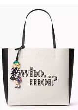 NWT Kate Spade Miss Piggy Who Moi Hallie leather tote Disney PXRU7438 white/blak