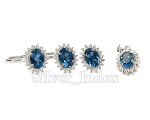 Natural London Blue Topaz 925 Sterling Silver Ring Earring Pendent Jewelry Set
