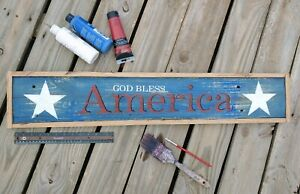 """God Bless America - Rustic Hand Made Distressed Wooden 7.25"""" x """"37"""