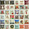 "18"" Merry Christmas Cotton Linen Home Décor Sofa Pillow Case Cushion Cover Decor"