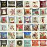 """18"""" Merry Christmas Cotton Linen Home Décor Sofa Pillow Case Cushion Cover Decor"""