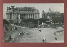 SINGAPORE Fullerton Building Rickshaws Cars RP PPC c1920s?