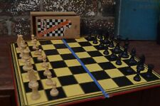 Vintage Boxed Milbro Staunton Box Wood Chess Set With Playing Board