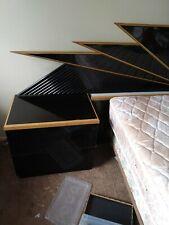 Fan style bedroom set queen Headboard has nightlights inside 6 drawer dresser wi