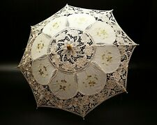 "20""  Ivory Gold Wedding Lace Linen Parasol Umbrella Bridal Shower Party Decor"