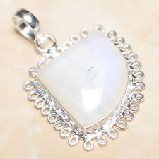 Fuoco Bianco Pietra Lunare Arcobaleno Opale Argento Sterling 925 5.1cm Ciondolo