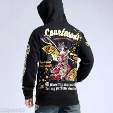 Mens Hoodie Japanese Pattern Embroidery Hooded Sweatshirt Sukajan Jacket Ukiyo-e