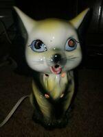 Vintage Kitty Cat Night Light Lamp glowing eyes