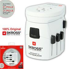 SKROSS Original PRO - World & USB Travel Adapter Suitable for 2-Pole and 3-Pole