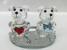 8CM CRYSTAL CUT GLASS TEDDY BEAR LOVE COUPLE RED HEART/BLUE BOW TIE FIGURINE