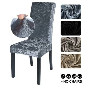 Crushed Velvet Stretch Dining Chair Covers Protective Slipcover Home Decor