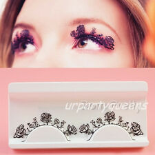 Flase Eyelashes Paper Cut Rose Flower Party Stage Club Eye Lash Makeup Comestic