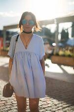 Zara Baby Blue Poplin Jumpsuit Playsuit Dress Size XS - EXTRA SMALL - UK 6 -BNWT