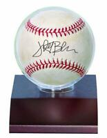 ULTRA PRO BASEBALL HOLDER, DARK WOOD BASE baseball display case on base/stand