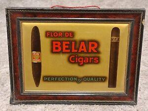 Antique FLOR DE BELAR CIGARS Tin Litho Store Advertising Counter Display Sign
