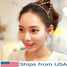 Cat Ears Metal Faux Rhinestones Gold Punk Costume Party Headband Hair Band