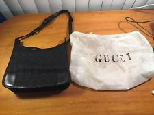 GUCCI BLACK SHOULDER BAG PURSE AUTHENTIC #143743 PRE-OWNED WITH DUSTBAG