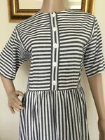 "70""s Blue White Retro Striped ""Kay Windsor"" Drop-Waist Midi Dress"