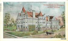 1912 Detroit Michigan Knights Maccabees Offices autos postcard 6266
