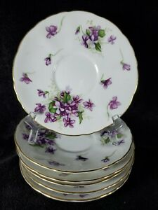 """6 ROSSETTI SPRING VIOLETS (2 OCCUPIED JAPAN) CHINA GOLD TRIM SAUCER 6"""" EXCELLENT"""